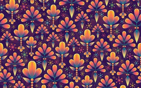 Picture leaves, snowflakes, background, graphics, texture, digital art, flora
