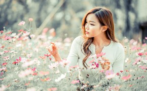 Picture girl, flowers, Asian, cutie, bokeh