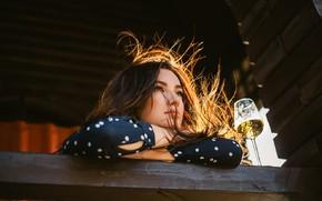 Picture look, girl, light, wine, hair, glass, brunette, Juliana Mizinova