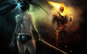 Picture girl, night, fire, sword, skeleton, Ghost rider