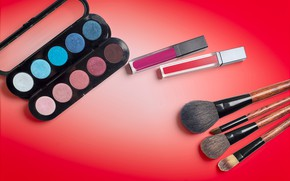 Picture red, background, shadows, cosmetics, brush