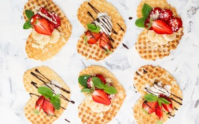 Picture berries, chocolate, strawberry, ice cream, hearts, banana, waffles