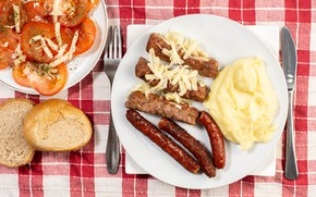 Picture photo, Plate, Tomatoes, Food, Main dishes, Sausage, Meat products, Bread