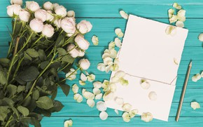 Picture green, background, roses, bouquet, petals, white, wood