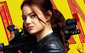 Picture look, pose, weapons, portrait, makeup, poster, Emma Stone, Emma Stone, Wichita, Zombilend: Control shot, Zombieland: …