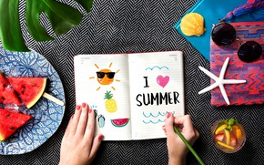 Picture summer, the inscription, watermelon, glasses, drawings, Notepad, drink