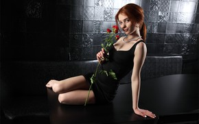 Picture black, hot girl, ponytail, walls, Lily, table, exotic, red roses, posing, pearl necklace, cute girl, …