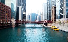 Picture bridge, river, home, skyscrapers, Chicago, USA, boats