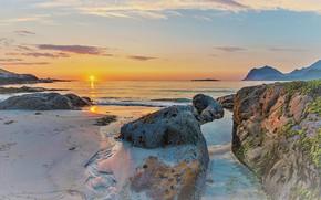 Picture sand, sea, beach, the sky, the sun, clouds, sunset, stones, rocks, dawn, shore, dal, horizon, …