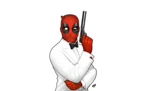 Picture Minimalism, Figure, Gun, Mask, Art, Art, Tuxedo, Deadpool, Marvel, Deadpool, Comics, MARVEL, Creatures, MARVEL Comics, …