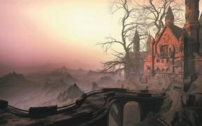 Picture bridge, fog, castle