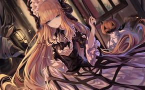 Picture night, Halloween, pumpkin, horns, blue eyes, long hair, ruffles, Jack, Nightingale, by Sheya, Halloween Costume, …
