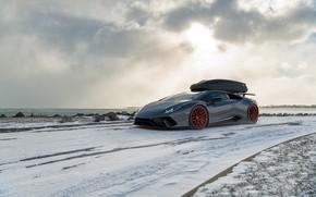 Picture winter, snow, Lamborghini, supercar, CGI, Performante, Huracan