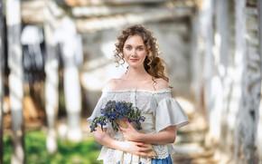 Picture look, girl, flowers, pose, photo, beautiful, bokeh, Anastasia Barmina