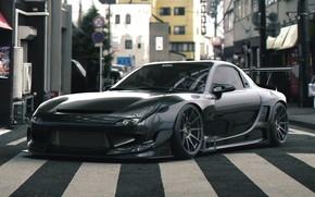 Picture Auto, Black, Machine, Street, Mazda, RX-7, Rendering, Mazda rx7, Mazda RX-7, Vehicles, Transport & Vehicles, …
