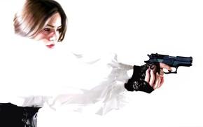 Picture girl, gun, white blouse