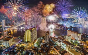 Picture night, the city, building, Thailand, Thailand, Bangkok, fireworks