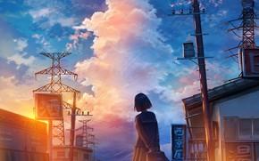 Picture sunset, street, schoolgirl
