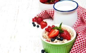 Picture Breakfast, muesli, yogurt, oatmeal