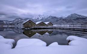Picture winter, mountains, lake