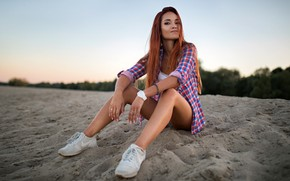 Wallpaper the sky, trees, pose, model, shorts, portrait, the evening, makeup, hairstyle, shirt, legs, beauty, sitting, ...