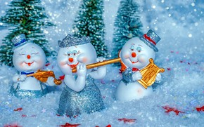 Picture snow, new year, Christmas, snowmen, figures