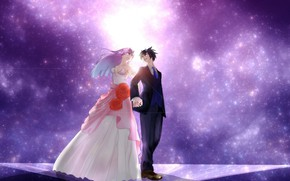 Picture space, two, wedding, Darling In The Frankxx, Cute in France
