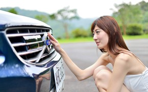 Picture auto, Girls, Volvo, Asian, beautiful girl, posing on the car