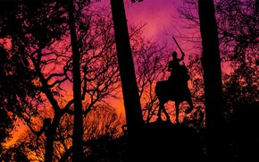 Picture New York, silhouette, glow, Manhattan, statue of Joan of Arc, Park Riversid