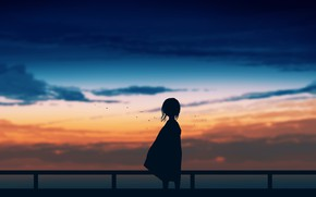 Picture the sky, sunset, girl, postapokalipsis, by Gracile