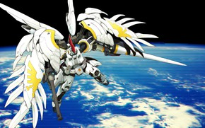 Picture weapons, planet, robot, Mobile Suit Gundam