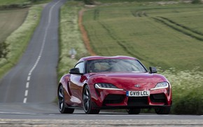 Picture road, field, red, movement, coupe, turn, Toyota, Supra, the fifth generation, mk5, double, 2019, UK …