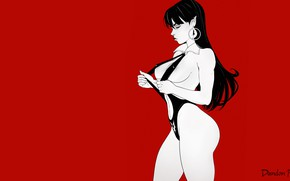 Picture Red, Girl, Chest, Minimalism, Figure, Body, Background, Art, Fiction, Vampire, Figure, Character, Vampirella, Nudity, by …