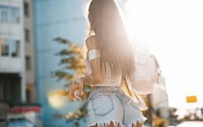 Picture ass, the city, shorts, Girl, backpack, Artem SolovЬev, Aniuta Furnosova