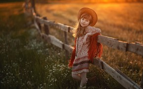 Picture field, sunset, nature, the fence, the evening, hat, the fence, girl, grass, child, Marina Linchuk