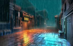 Picture light, rain, street