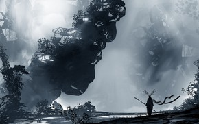 Picture Silhouette, Warrior, Landscape, Art, Fiction, Landscapes, Digital Art, TacoSauceNinja, by TacoSauceNinja, Voidless