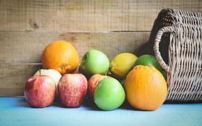 Picture background, apples, Board, food, oranges, green, red, fruit, basket, a lot, lemons, cuts
