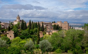 Picture landscape, nature, the city, fortress, architecture, Spain, Palace, Granada, Alhambra