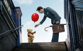 Wallpaper bear, bear, Vinnie, a balloon, cartoon, portfolio, vest, Ewan McGregor, red, stage, costume, plush, Ewan ...