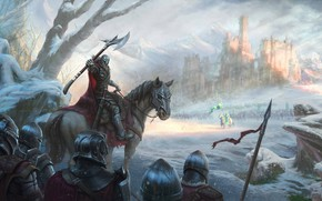 Picture castle, army, riders