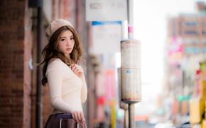 Picture girl, street, Asian, cutie, bokeh