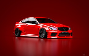 Picture Mercedes-Benz, Red, Machine, Mercedes, Car, C63, Widebody, Red background, Transport & Vehicles, November Tlibekov, by …