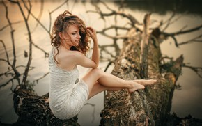 Picture nature, sexy, pose, river, model, portrait, makeup, figure, dress, hairstyle, brown hair, legs, sitting, in …