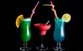 Picture lemon, orange, glasses, cocktails