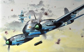 """Picture fighter-bomber, Destroyer Squadron 26 """"Horst Wessel"""", Me.210, Me-210A-1, Messerschmitt Me 210"""