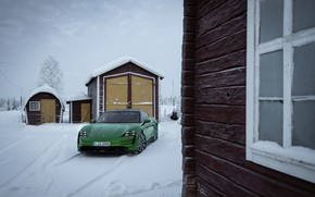 Picture snow, house, wall, Porsche, green, structure, 2020, Taycan, Taycan 4S