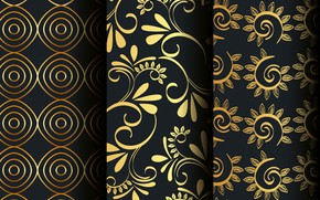Picture flowers, background, pattern, black, golden, patterns, set, floral, seamless, victorian