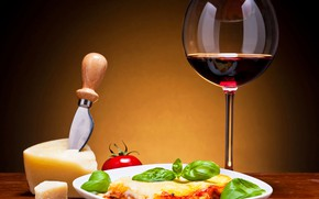 Picture wine, glass, cheese, tomatoes
