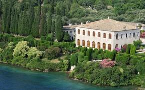 Picture trees, lake, Villa, Italy, Garda, Villa Guarienti